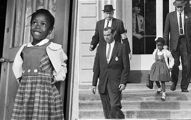 Ruby Bridges, aos 6 anos, a primeira criança negra a estudar em uma escola de brancos nos EUA