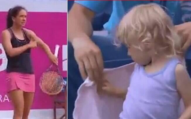 Tenista Patty Schnyder interrompe partida para pedir que sua filha colocasse agasalho