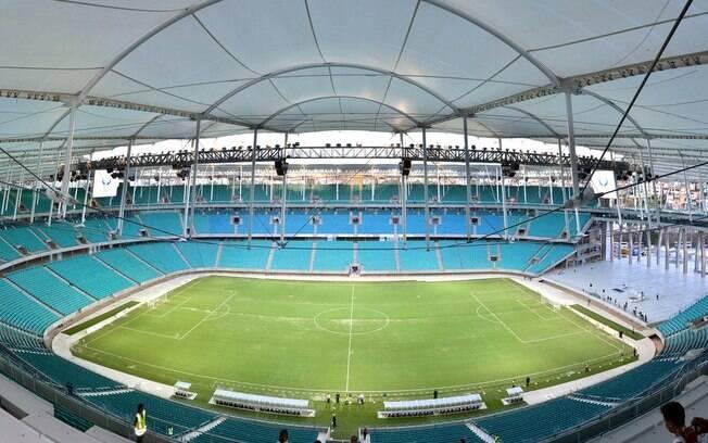 Vista da Arena Fonte Nova do alto. Toda a arquibancada é coberta
