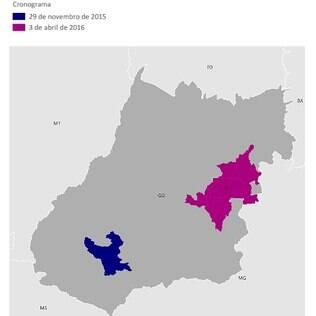 Rio Verde (GO) é cidade-piloto da campanha e aparece marcada no mapa em azul