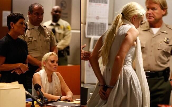 Lindsay Lohan deixa o tribunal algemada