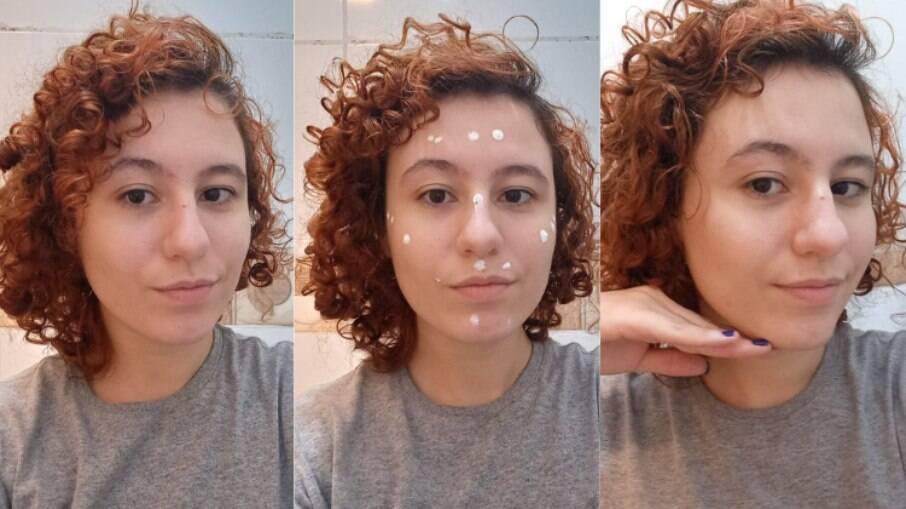 Na primeira foto, a pele está apenas lavada e sem produtos. Na segunda, o protetor solar facial é aplicado. Na terceira, o efeito matte que deixa a pele bem agradável