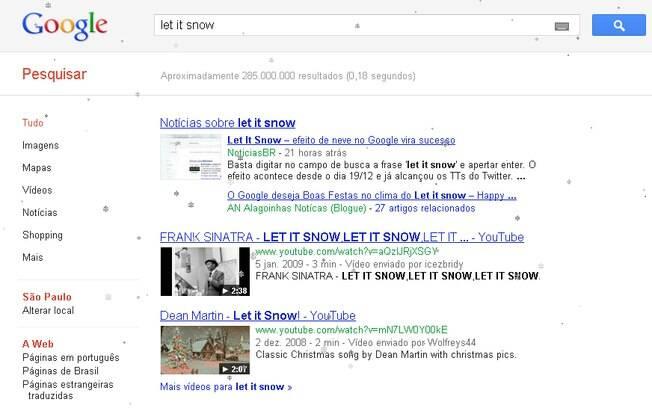 Let it snow faz neve cair sobre página de resultados de busca do Google