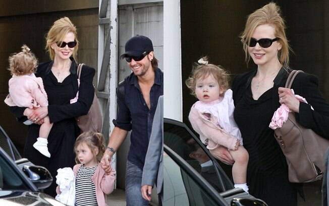 Nicole Kidman na Austrália com as filhas e o marido