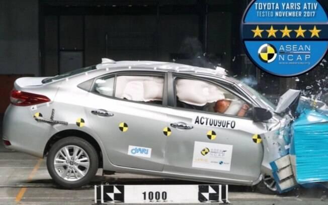 Toyota Yaris Sedan recebe nota máxima nos testes de colisão do ASEAN NCAP,  da Ásia.