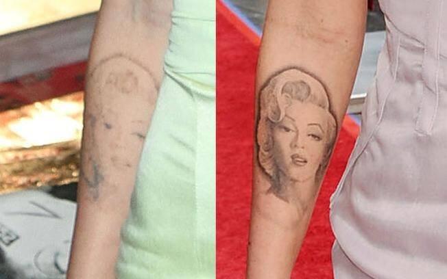 A tatuagem da atriz, quase imperceptível, e antes, ainda nítida