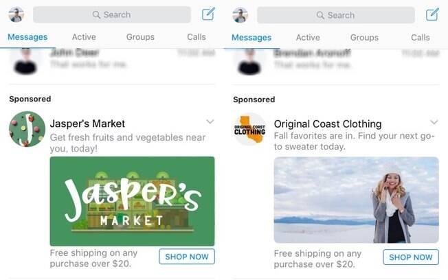 Anunciantes que criarem campanhas para o Messenger terão espaço de destaque na tela inicial do aplicativo