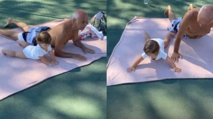 Clara Maria dá show ao fazer yoga com avô e web comenta
