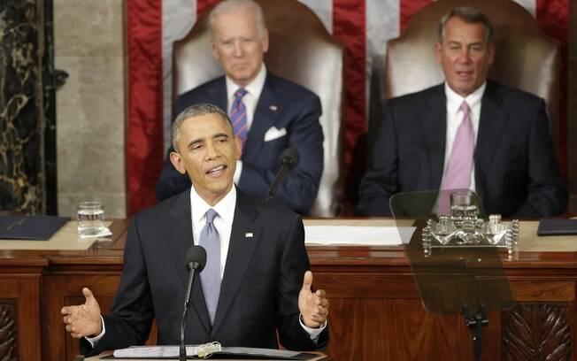 Obama, durante o tradicional discurso do Estado da União, feito pelos presidentes norte-americanos desde 1790