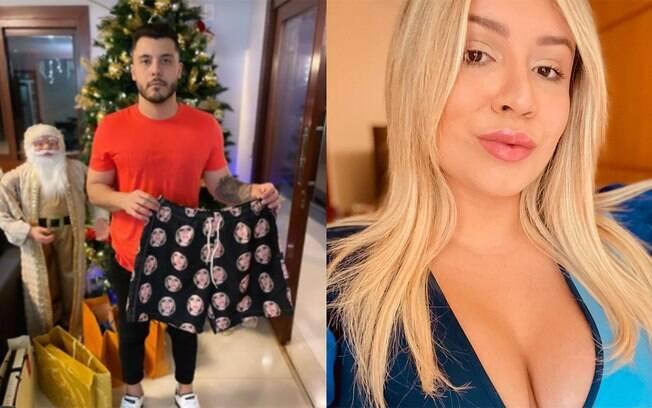 Murilo Huff ganha short estampado com o rosto de Marilia Mendonça de Natal