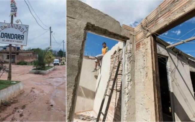 Entrada da área da ocupação e casa em obras na região; maioria das casas de alvenaria foi erguida em processo de mutirão
