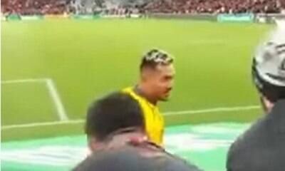 Torcedor do Athletico-PR se exalta e cai de cabeça ao xingar Diego Alves