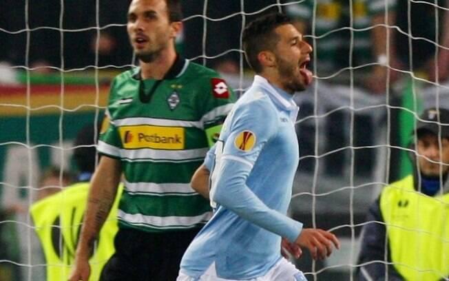 Candreva comemora o primeiro gol da Lazio