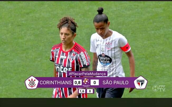 cena do jogo entre Corinthians e São Paulo