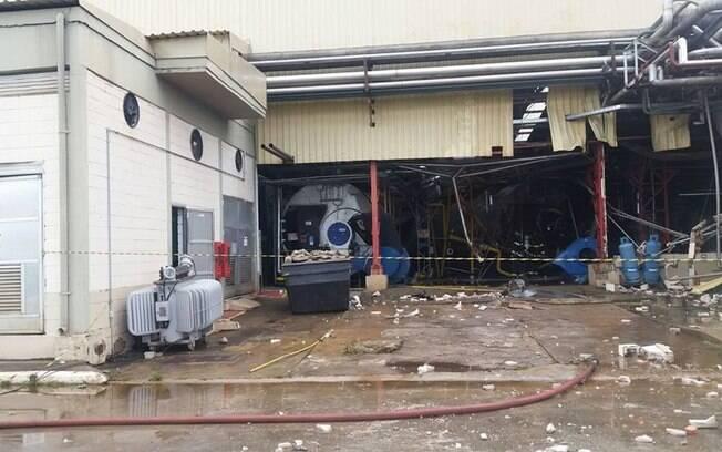 Local onde ficava a caldeira que explodiu na fábrica da Heineken, em Jacareí (SP)