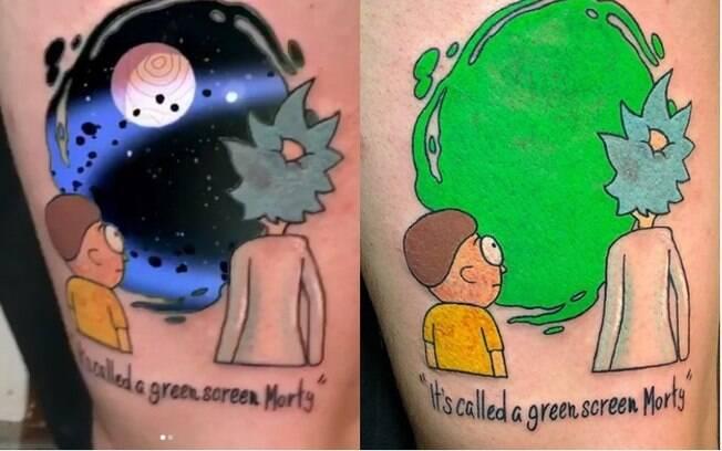 Uma das ideias de tatuagem mais diferentes que já surgiram por aí é com chroma key, para criar efeitos visuais na tattoo