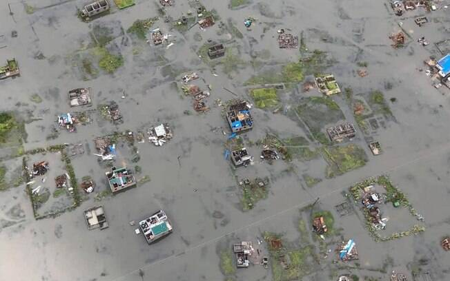 Grande parte de Moçambique ficou alagada e sem comunicações em função da passagem do ciclone Idai