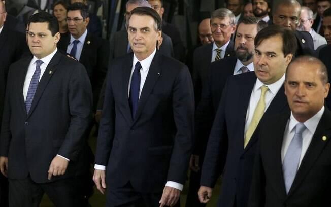 Bolsonaro com Maia e Alcolumbre