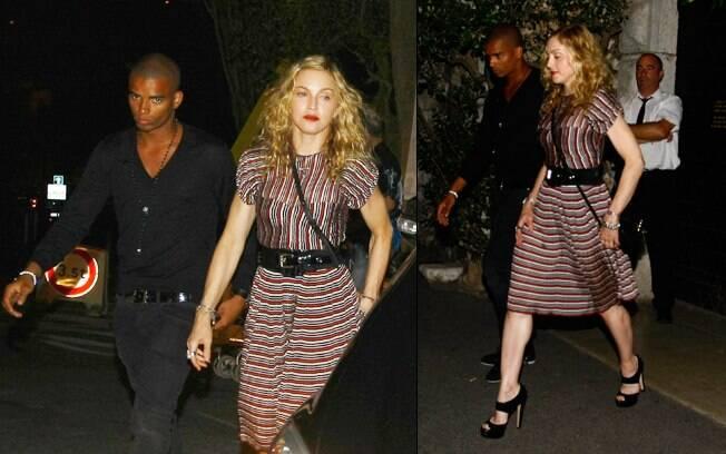 Madonna e Brahim Zaibat deixando um restaurante no sul da França