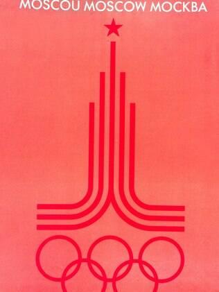O cartaz dos Jogos soviéticos era vermelho, claro