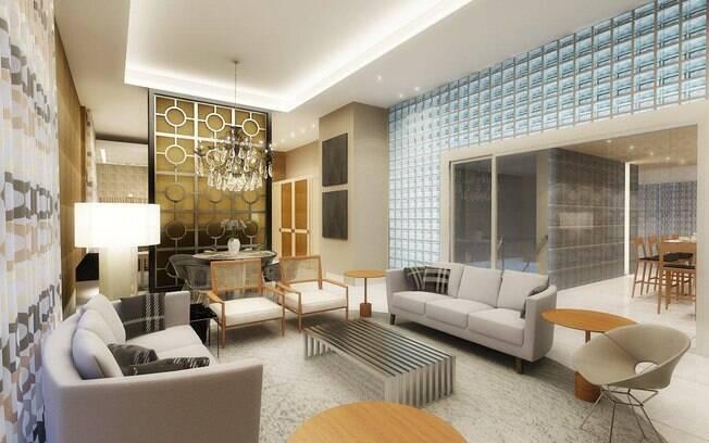 O 'super loft' de Denise Barretto mistura os estilos art déco e contemporâneo. O pé direito de quatro metros foi marcado pela beleza dos tijolos de vidro