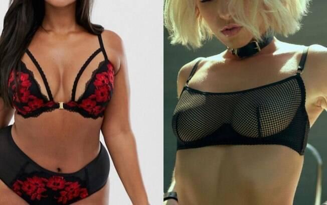 mulheres com lingerie preta e vermelha