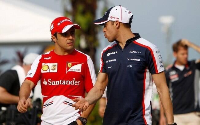 Massa conversa com o piloto venezuelano  Pastor Maldonado