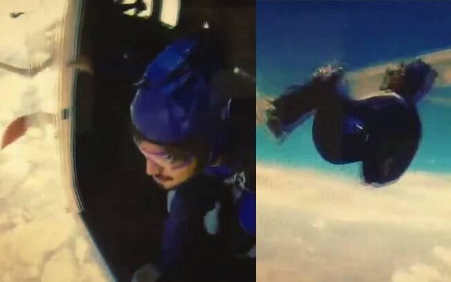 Caio Castro mostra vídeo de seu salto solo de paraquedas