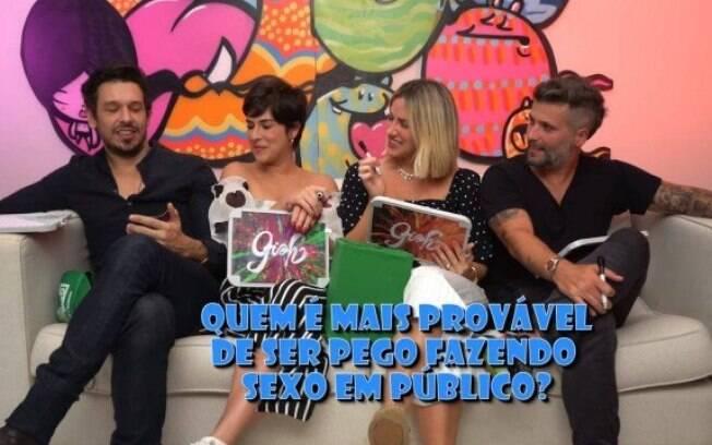 João Vicente de Castro, Fernanda Paes Leme e Bruno Gagliasso participaram do quadro 'Quem é mais provável' no canal de Giovanna Ewbank no YouTube