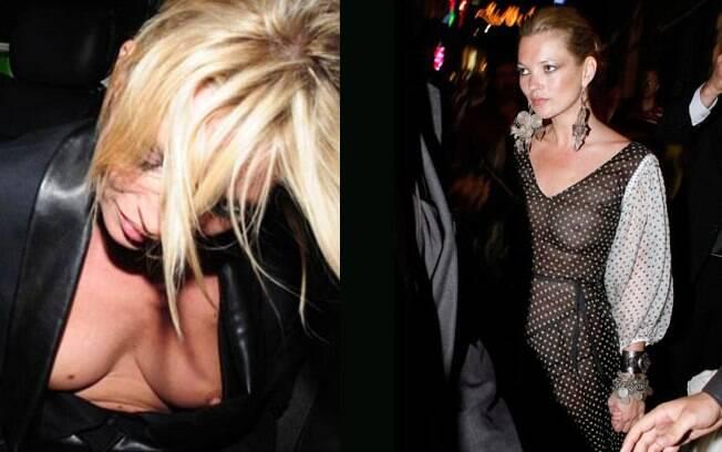 A top model Kate Moss sempre faz a alegria dos paparazzi. Em uma das vezes a roupa abriu, na outra, a roupa era transparente. Em ambas ela estava sem sutiã