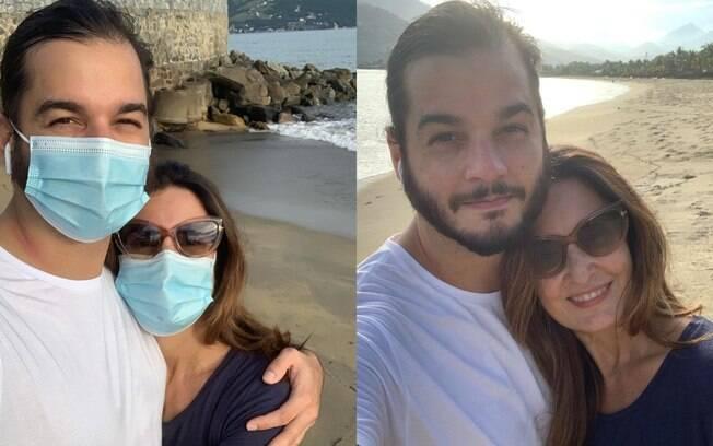 Fátima Bernardes deu uma escapada das orientações médicas para ir à praia com Túlio Gadêlha