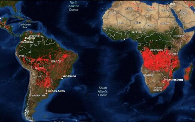 Imagens de satélite mostram como África arde em chamas