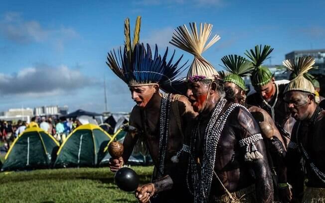 Manifestação indígena na Esplanada dos Ministérios