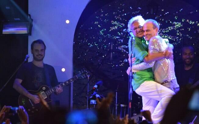 Caetano Veloso e Ney Matogrosso brincaram durante o evento Pipoca Moderna