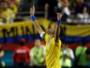 Brazil's Neymar celebrates after scoring a goal in the second half of an international friendly soccer match against Colombia, Friday, Sept. 5, 2014, in Miami Gardens, Fla. Brazil defeated Colombia 1-0. (AP Photo/Lynne Sladky)