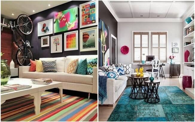 Escolher um tapete de tons vibrantes ou formatos inusitados é uma boa forma de dar uma cara nova a um cômodo