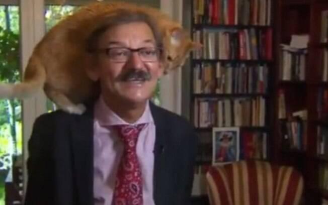 Gato invade entrevista de seu dono enquanto falava sobre a situação política da Polônia