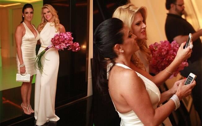 Lydia Sayeg fez uma passagem-relâmpago na casa de Val Marchiori a caminho da festa dissidente, oferecida por Brunete, e levou flores em agradecimento pelo convite
