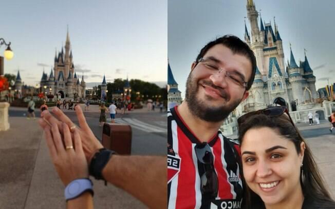 Elaine ficou emocionada com o pedido de casamento e conta que não desconfiou que o noivo iria pedir sua mão na Disney