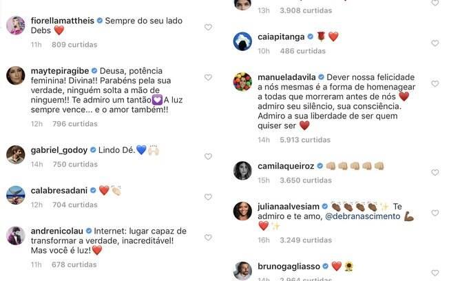 Débora Nascimento recebe apoio de famosos no Instagram
