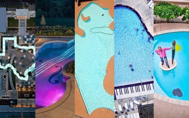 Desde o formato do estado do Texas, nos Estados Unidos, até uma paleta de artista, as fotos de piscinas surpreendem
