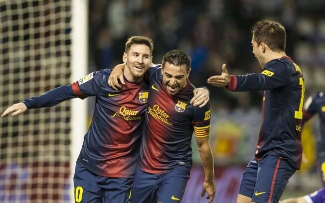 Lionel Messi comemora segundo gol do  Barcelona sobre o Valladolid