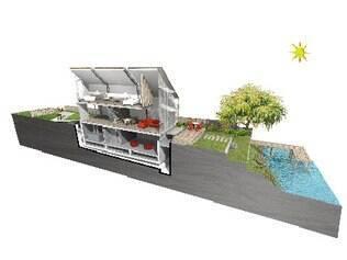 Construída com madeira leve, a parte habitável da casa será altamente isolada e apoiada em uma cobertura de concreto