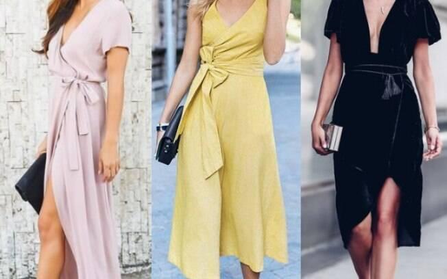Os modelos que amarram em volta do corpo são elegantes e clássicos, mas não deixam de lado o toque moderno
