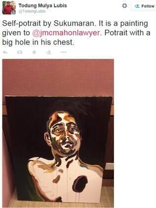 Advogado postou foto de quadro pintado por um dos australianos na Indonésia