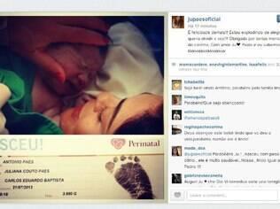 Primeira imagem: Juliana Paes na sala de parto com Antonio