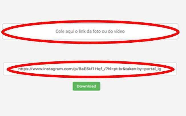 Cole o link da Url do vídeo no local indicado e clique em