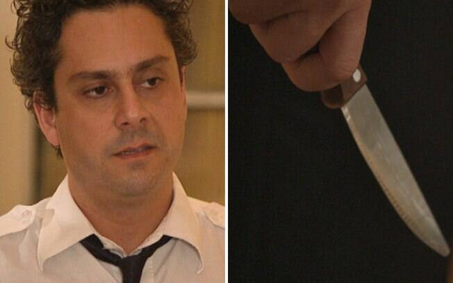 Baltazar vê Celeste conversando com Pezão e pega uma faca