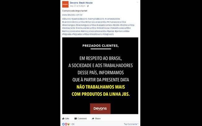 Pelo Facebook, internautas apoiaram a decisão tomada pela direção da churrascaria de Curitiba