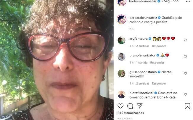 Barbara Bruno, filha de Nicette, em vídeo no Instagram sobre a mãe estar internada com Covid-19.